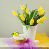 Spring tulips with eggs Royalty Free Stock Photos