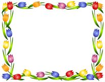 Spring Tulips Flower Frame or Border. A background illustration featuring a frame or border of colourful tulips Stock Images