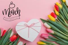 Valentine`s Day background. Beautiful fresh tulips. stock photo