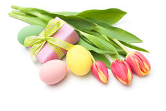 Spring tulips flowers with gift box Royalty Free Stock Photos