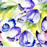Spring Tulips flowers watercolor illustration. Seamless pattern Stock Image