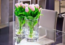 Spring tulips in interior Royalty Free Stock Image