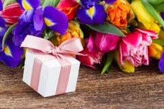 Spring tulips and irises Stock Image