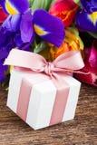 Spring tulips and irises Stock Photo