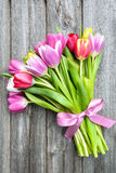 Spring tulips on old wooden background Stock Images