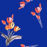 Spring tulips with red flowers on a deep blue background. Watercolor royalty free stock photos