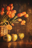 Spring tulips and with vintage feeling Stock Image