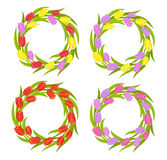 Spring Tulips Wreath set vector illustration
