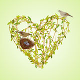 Spring twigs heart shape. Stock Image