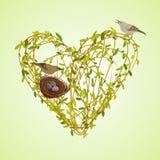 Spring twigs heart shape. stock illustration
