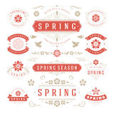 Spring Typographic Design Set. Retro and Vintage Style Templates. Stock Photo