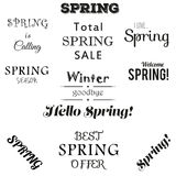 Spring typographic set. Stock Images