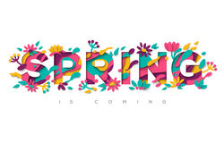 Spring typography design with paper cut shapes. Spring typography design with abstract paper cut shapes, leaves and flowers. Vector illustration. Colorful floral Royalty Free Stock Photos