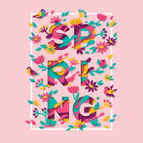 Spring typography design with square frame Stock Image