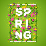 Spring typography design with white paper cut text Stock Photography
