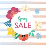 Spring typography poster with cute colorful flowers in flat style. Spring sale typography poster with cute colorful crocus and chamomile flowers frame in flat royalty free illustration