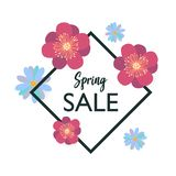 Spring typography poster with cute colorful flowers in flat style. Spring sale typography poster with cute colorful crocus and chamomile flowers frame in flat stock illustration
