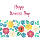 Spring typography poster with cute colorful flowers and Happy Women`s Day text in flat style. Vector illustration for 8 March, Mother`s Day, greeting cards royalty free illustration