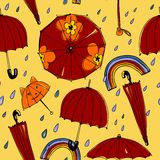 Spring umbrellas pattern Royalty Free Stock Photo