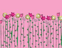 Spring Up. Illustration of spring flowers on a pink background. Room for your own copy at the top Royalty Free Stock Photo