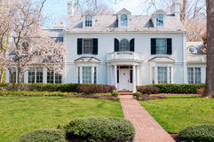 Spring at upscale house in Maryland. Upscale family house with front yard in suburbs of Washington (Maryland, USA). Photo was taken in April, 2011 Stock Photo