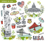 Spring in USA.Famous landmarks,floral decor set Royalty Free Stock Photo