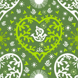 Spring Valentine pattern with hearts and birds, ve Royalty Free Stock Images