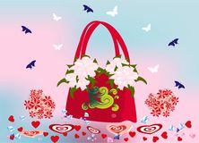 Spring - Valentine's handbag Royalty Free Stock Images
