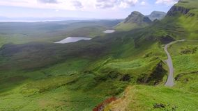 Spring valley in mountain Quiraing, Scotland, United Kingdom stock video