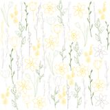 Spring vector background with tulips and daffodils. Graphic illustration of fruit on white background royalty free illustration