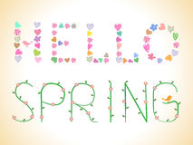 Spring. Vector banner on the theme of spring and the stylized font stock illustration