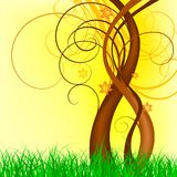 Spring vector design. Grass and swirl design elements on yellow background stock illustration