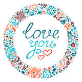 Spring vector doodle frame with text. Love you. Stock Photography