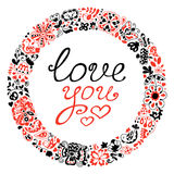 Spring vector doodle frame with text. Love you. Stock Images