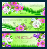 Spring vector floral banners. Spring Sale vector banners for springtime holiday shopping. Design of floral bunches or wreath bouquets and flowers crocus, forget Stock Photos