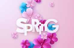 Spring. Vector realistic 3d illustration. Paper cut spring banner. Cutout letters with colorful paper flower garland on soft pink background. Trendy Stock Photo