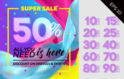 Spring Vector Sale Template with Flying Silk on Colorful Background.. Bright Shopping Advertising. Design for Cloth Shop, Fabric Store, Web Banner, Pop-Up Stock Images