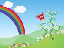 Spring Vector Scene. Illustration of a spring scene with a rainbow, flowers, a butterfly, and trees set against rolling green grassy hills royalty free illustration