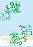 Spring vector theme. Pair green branches on blue underground Royalty Free Stock Images