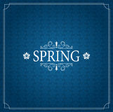 Spring Vector Typographic Poster or Greeting Card Design. Beautiful Blurred Lights with  Flower. Royalty Free Stock Images