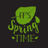 Spring Vector Typographic Poster, Greeting Card Design. Lettering with leaves Royalty Free Stock Images
