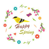 Spring Vectors with a bird Stock Photography