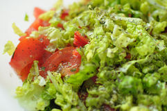 Spring vegan salad with tomato, cucumbers, radish and chinese cabbage. In a bowl. Close up Stock Photos