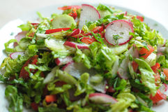 Spring vegan salad with tomato, cucumbers, radish and chinese cabbage. On a white plate. Close up Royalty Free Stock Image