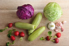 Spring vegetable set - whole heads of cabbage, zucchini, radish Stock Photography