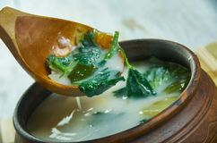 Spring vegetable soup nettle. Country style stock photography