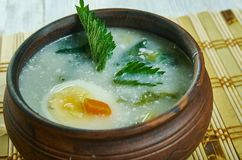 Spring vegetable soup nettle. Country style stock images