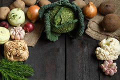 Spring vegetables on a dark background: Savoy cabbage, cauliflower, onion, garlic, kohlrabi, celery root, dill Stock Photos