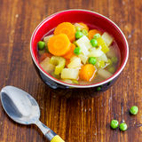 Spring Vegetables Soup. This 5 vegetables spring soup is easy, light, vegetarian, and perfect for any time of the year Royalty Free Stock Photo