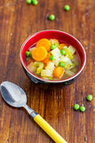 Spring Vegetables Soup. This 5 vegetables spring soup is easy, light, vegetarian, and perfect for any time of the year Stock Image